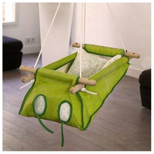 HängemattenGlück Berso, Babywiege Aus Bio-baumwolle grün