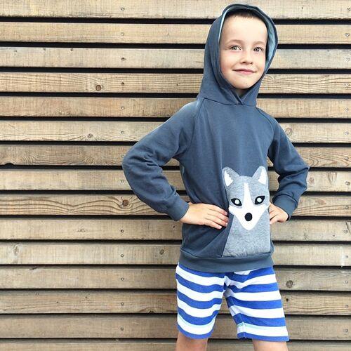 internaht Kinder Hoodie Polarfuchs grau 104