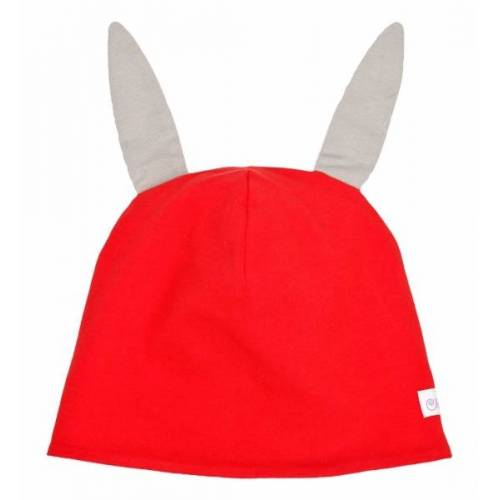 CHARLE - sustainable kids fashion Baby Hasenmütze rot/taupe(grau) xxs - ca.4-12 monate