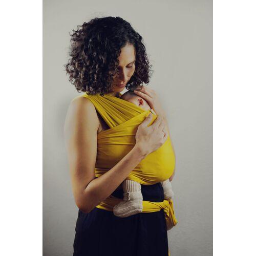 HoudiniMe Elastisches Babywrap/ Babytragetuch Aus 100% Micromodal - Colours mustard/ senf