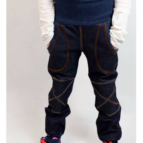 Omilich Kinder-/baby-mitwachs-jeans Blau Mit Taschen Und Knieflicken blau 140