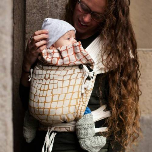 Hoppediz® Hoppediz Babygtrage Hop-tye Buckle Darwin 100 % Bio Baumwolle creme