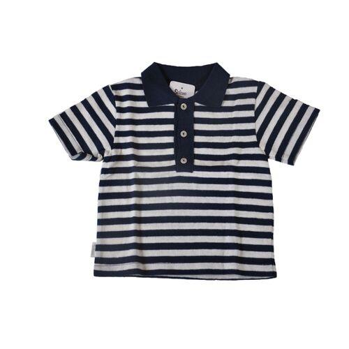 Selana of Switzerland Kinder Polo Shirt Selana Of Switzerland Aus 70% Baumwolle ( Bio) 30% Flachs Bzw. Leinen Blau Weiß Gestreift blau weiß 110