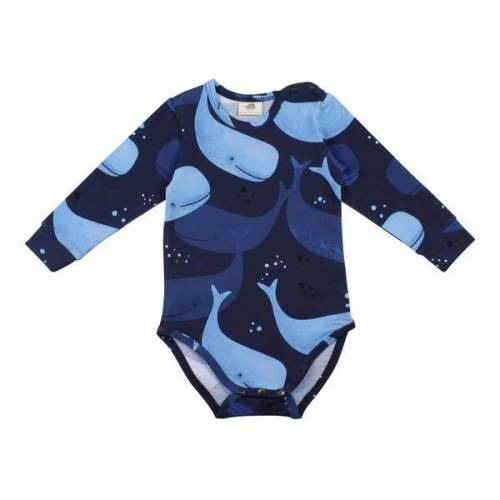 Walkiddy Langarm Baby Body *Smiling Whales* Gots Bio   Walkiddy  80