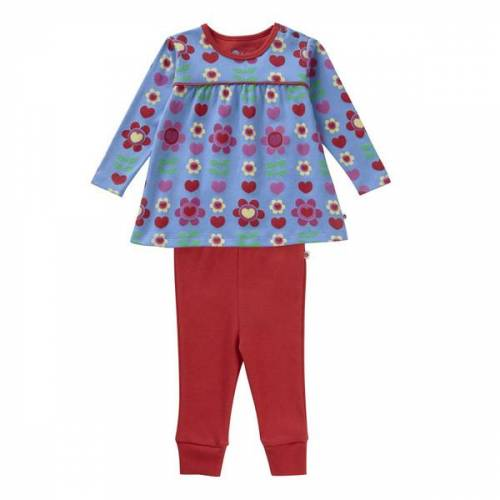 piccalilly Set 2 Teile Schlafanzug Piccalilly Blumen blau rot 3-6 monate