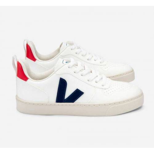 Veja Kinder Sneaker Vegan - V-10 Laces Cwl weiß (white cobalt pekin) 35