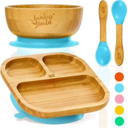 Bambuswald Geschirr Set Für Babys & Kleinkinder - Kindergeschirr Löffel Teller Schüssel blau