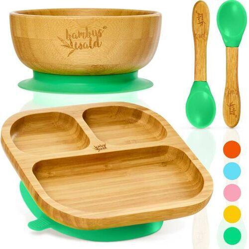 Bambuswald Geschirr Set Für Babys & Kleinkinder - Kindergeschirr Löffel Teller Schüssel grün