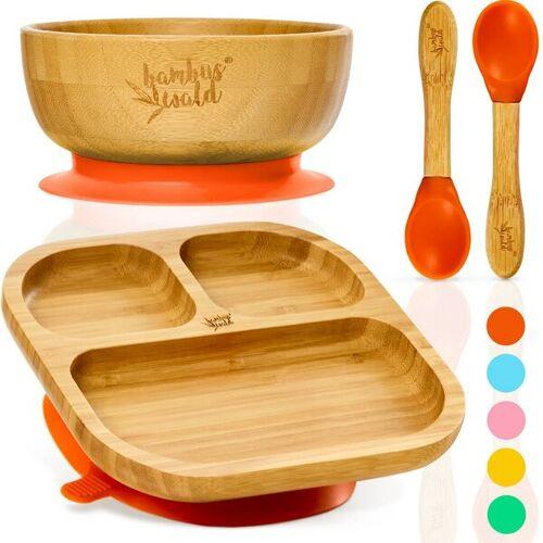 Bambuswald Geschirr Set Für Babys & Kleinkinder - Kindergeschirr Löffel Teller Schüssel orange