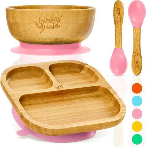 Bambuswald Geschirr Set Für Babys & Kleinkinder - Kindergeschirr Löffel Teller Schüssel rosa