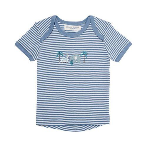 sense-organics Baby T-shirt, Kurz weiß/blau 50/56