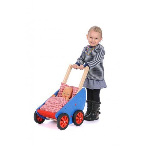 Bätz Holzspielwaren Schiebe-lauflernwagen - Puppenwagen Robi - Mit Bettzeug