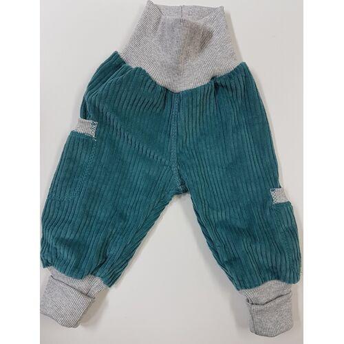 Omilich Kinder-/baby-mitwachshose Aus Petrolfarbenen Breitcord Mit Taschen  74