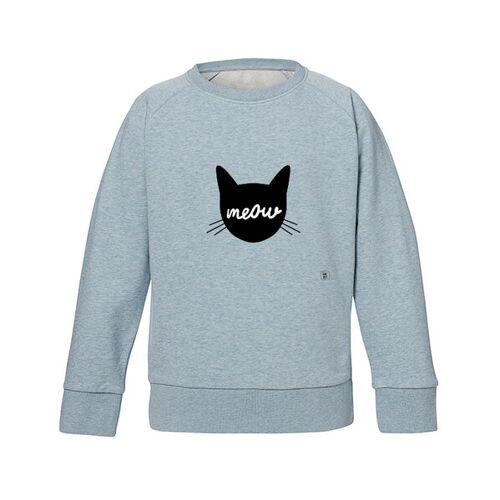 Kultgut Sweatshirt Mit Motiv / Meow hellblau 3-4 jahre