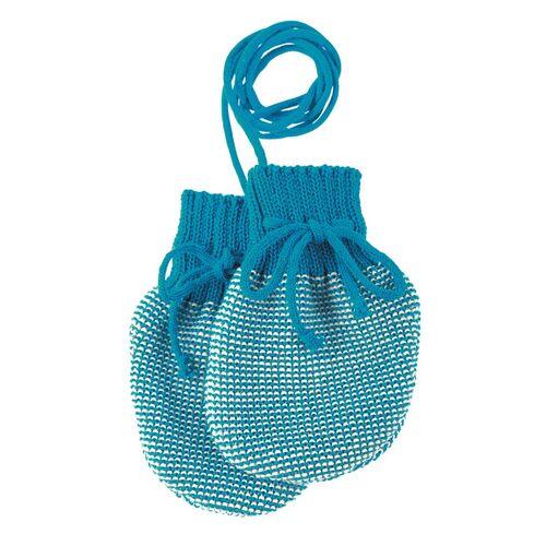 Disana Baby Strick-handschuhe blau/beige größe 0 (ca. 0-5 monate)