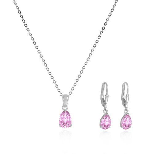 JuliaPilot Schmuck-set Rosa Kristall-ohrringe Und Halskette - Echt Silberschmuck rosa