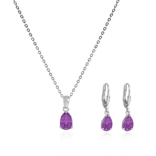 JuliaPilot Schmuck-set Lila-violett Kristall-ohrringe Und Halskette-silberschmuck lila