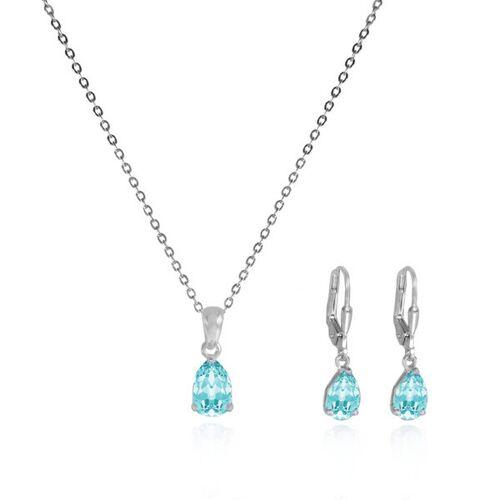 JuliaPilot Silberschmuck-set Aquamarin-farbe Kristall-ohrringe Und Halskette aquamarin