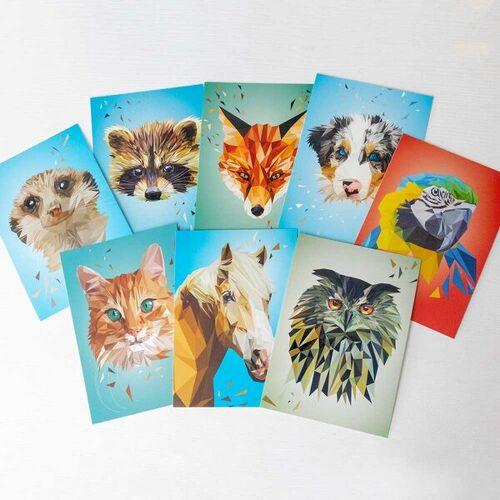 Printe Postkarten-set 8 Stk Lowpoly Tiere