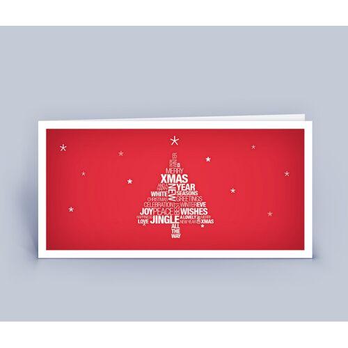 Eco-Cards Weihnachtskarten Din Lang Mit Wortwolke Weihnachtsbaum Im 10ér Set rot
