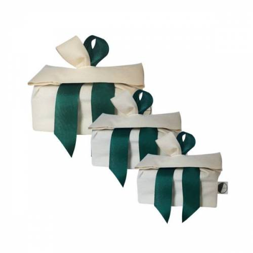 Goodgive Dreierset Wiederverwendbare Geschenkverpackungen beige/grün