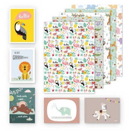 dabelino Kinder Geschenkpapier 5er Set Tiere: Faultier, Elefanten, Lama, Flamingo flamingo