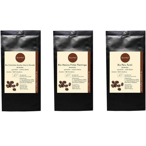 Querfee 3 x Bio Kaffee Als Kaffee Set - Bio Kaffee Aus Verschiedenen Ländern - 3 x 75 g - 225 g kaffee