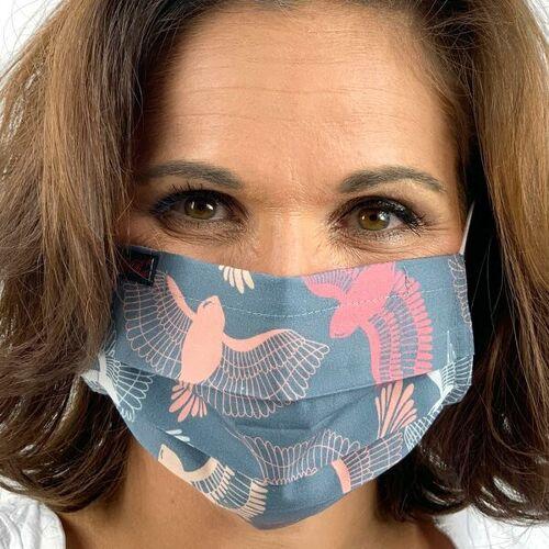 AnRa Mode Stoffmaske, Gesichtsmaske, Mund-nasen-maske Biobaumwolle vogel L