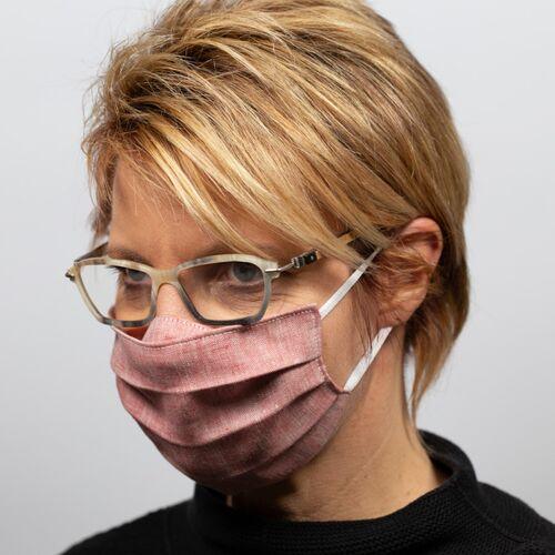 nahtur-design Mund-nasen-maske Für Brillenträger Aus Bioleinen rot
