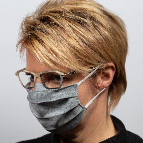 nahtur-design Mund-nasen-maske Für Brillenträger Aus Bioleinen blau