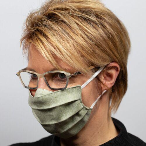 nahtur-design Mund-nasen-maske Für Brillenträger Aus Bioleinen grün