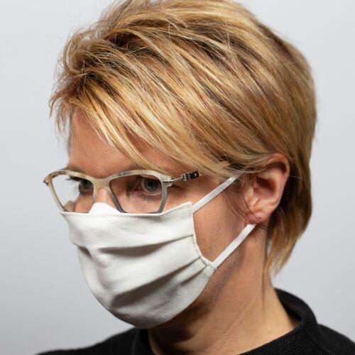 nahtur-design Mund-nasen-maske Für Brillenträger Aus Bioleinen weiß