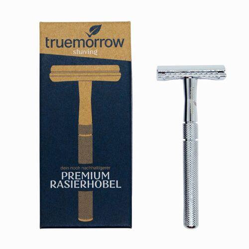 truemorrow Premium Rasierhobel Metall, Plastikfrei, Rasierer Für Mann Und Frau chrom