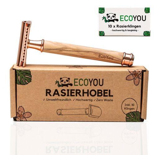 EcoYou Rasierhobel Aus Olivenholz - Rose - Inkl. 10 Rasierklingen - Rasierer Nassrasierer rose