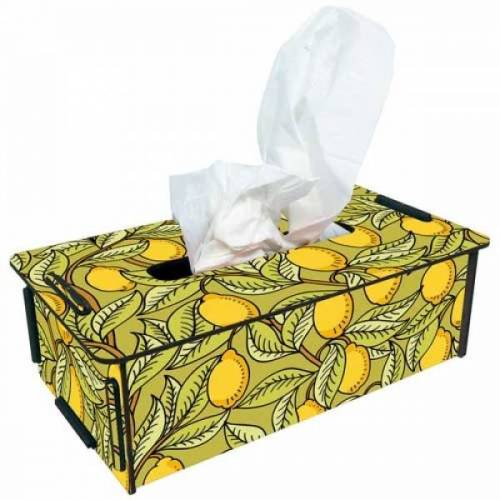 Werkhaus GmbH Tissue-box Tücherbox Taschentuchbox Kosmetiktücherbox Box Holz Ver. Motive zitrone