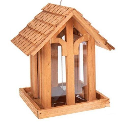 ReineNatur Holz Vogelfutterhaus Aus Kiefernholz Geölt Mit Rundbogenfenster - Wetterfest