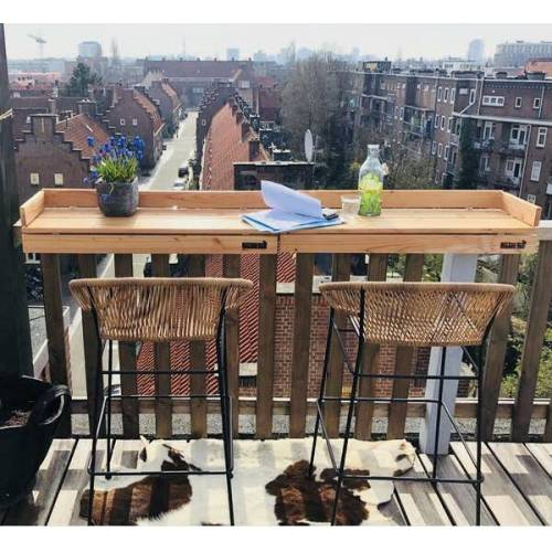 Balkonbar Pine Holz - Balkongeländer Rechteck Hoch - 90 x 30 Cm natural