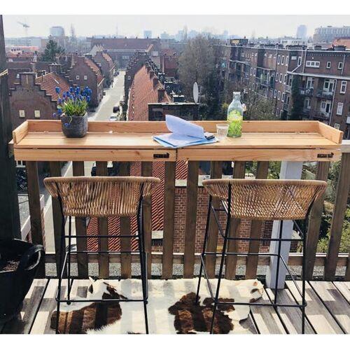 Balkonbar Pine Holz - Balkongeländer Rechteck Niedrig - 90 x 30 Cm grau