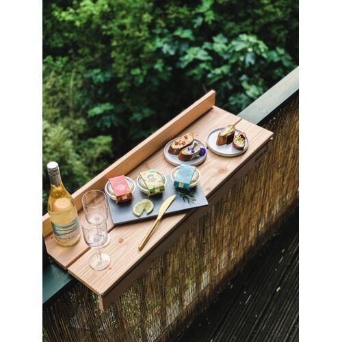 Balkonbar Pine Holz - Balkongeländer Rechteck Niedrig - 90 x 30 Cm natural