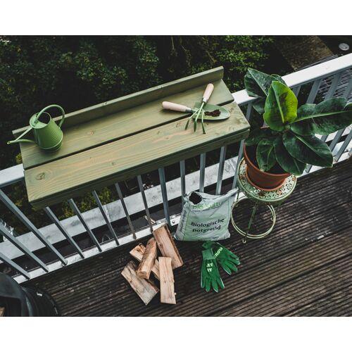 Balkonbar Pine Holz - Balkongeländer Rechteck Hoch - 90 x 30 Cm blau