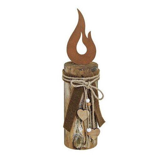 ReineNatur Flamme Aus Edelrost Auf Holzpfahl