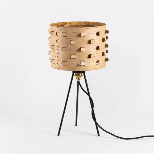 MOYA Birch Bark Nachttischlampe / Dreibein /Schreibtischlampe Aus Birkenrinde Ø25cm