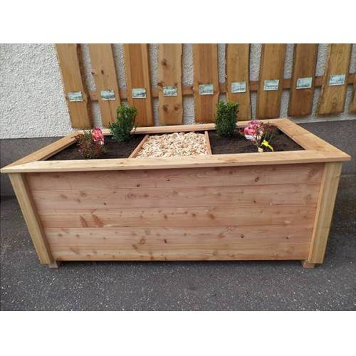 4betterdays Massives Hochbeet Aus Lärchenholz Inkl. Noppenfolie Und Wühlmausgitter  100x200 cm mit handlauf