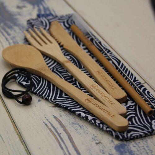 Oceantale Bambus Besteck Mit Halm Und Stofftasche bambus