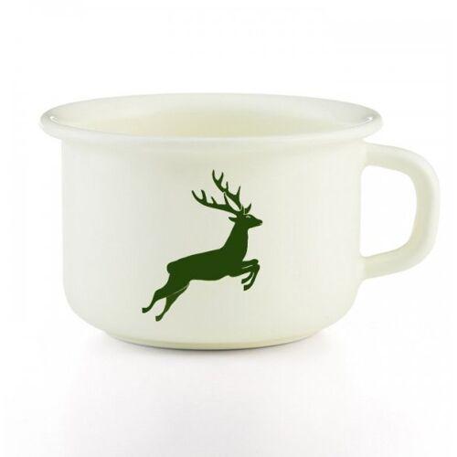 Riess Emaille Kaffeetasse weiss (hirsch/logo grün)