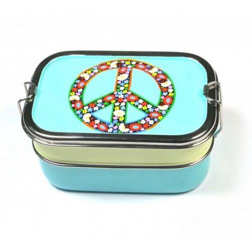 Just Be Peace Brotbox türkis/creme