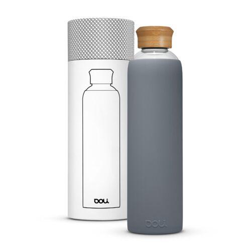 Doli Trinkflasche Aus Glas 1l Mit Schutzhülle, Bpa-frei Ohne Schadstoffe grau (bamboo grey)