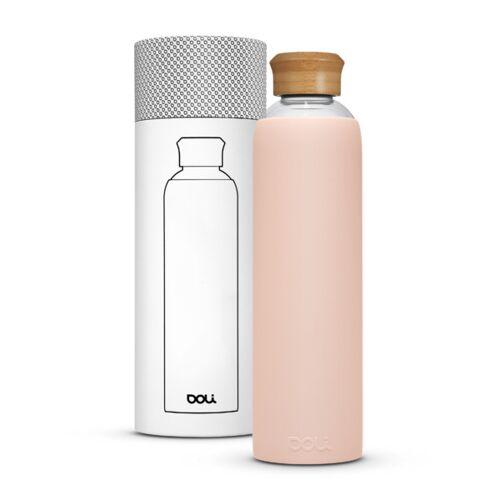 Doli Trinkflasche Aus Glas 1l Mit Schutzhülle, Bpa-frei Ohne Schadstoffe rosa (bamboo blush)