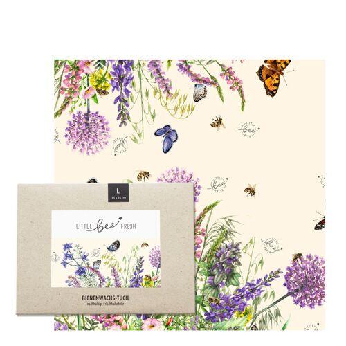 """little bee fresh Bio-bienenwachstuch """"Groß"""" - 35x35 Cm bunte blumenwiese"""