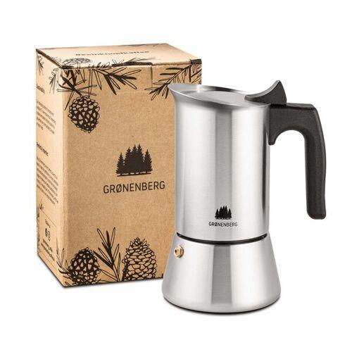 GROENENBERG Edelstahl Espressokocher 1 - 2 Tassen (100 Ml)   Mit Ersatz Dichtung